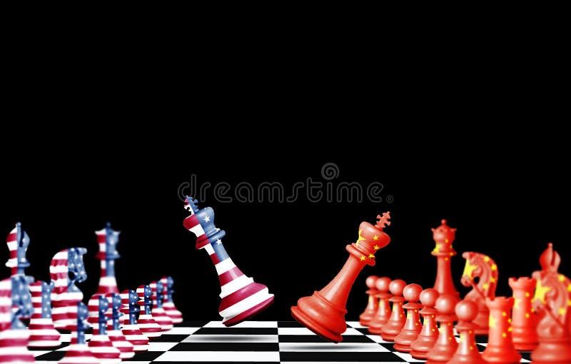 Flaggenbildschirm der USA und Chinas auf Schach mit weißem Hintergrund Sie ist Symbol für die Handelskriegssteuerschranke zwische lizenzfreie abbildung