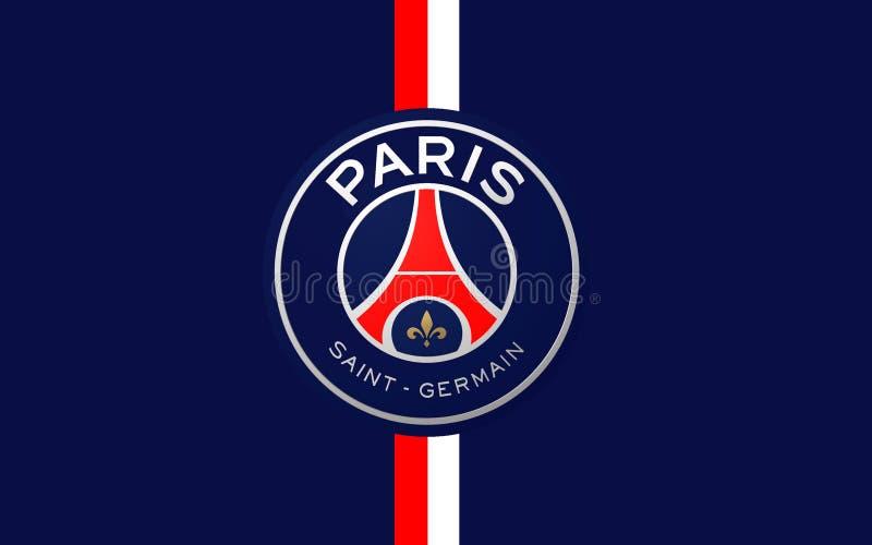Flaggenfußballclub Paris St Germain, Frankreich stockbilder
