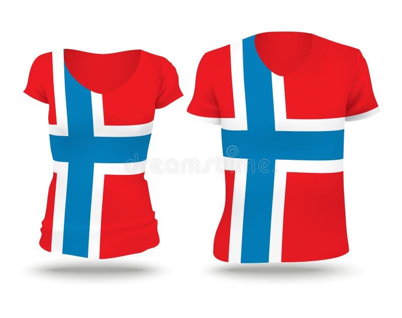 Flaggenhemdentwurf von Norwegen stock abbildung