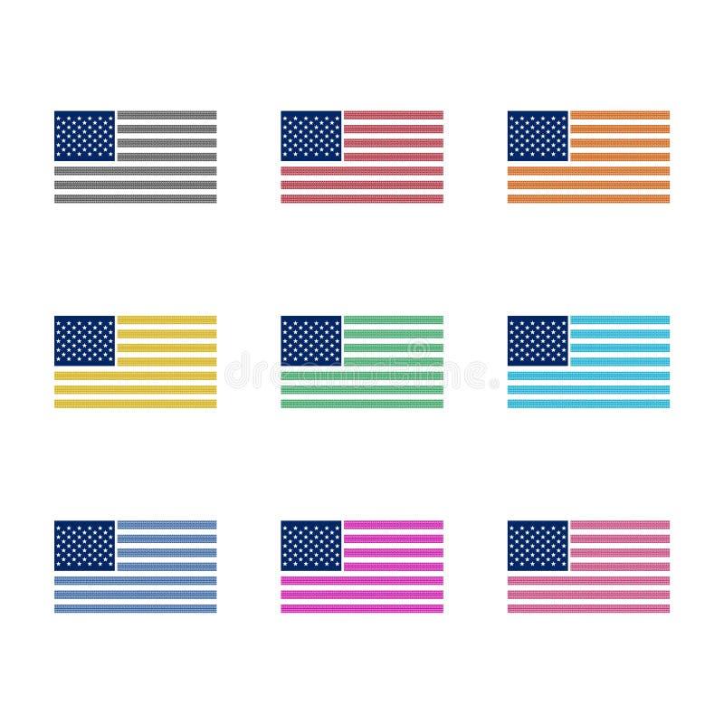 Flaggenikone der Vereinigten Staaten von Amerika oder Logo, Farbsatz stock abbildung