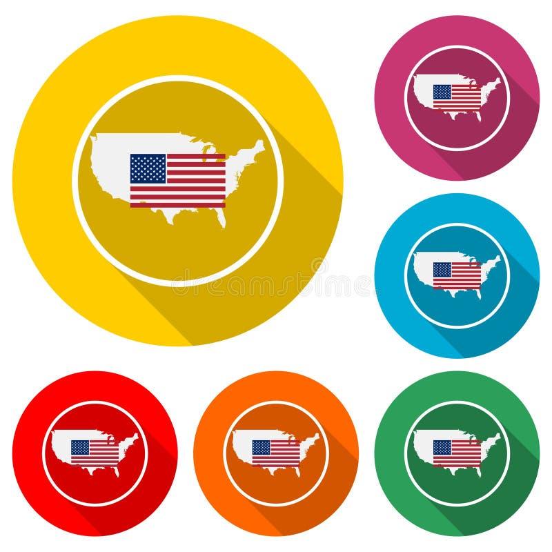 Flaggenikone der Vereinigten Staaten von Amerika oder Logo, Farbsatz mit langem Schatten vektor abbildung