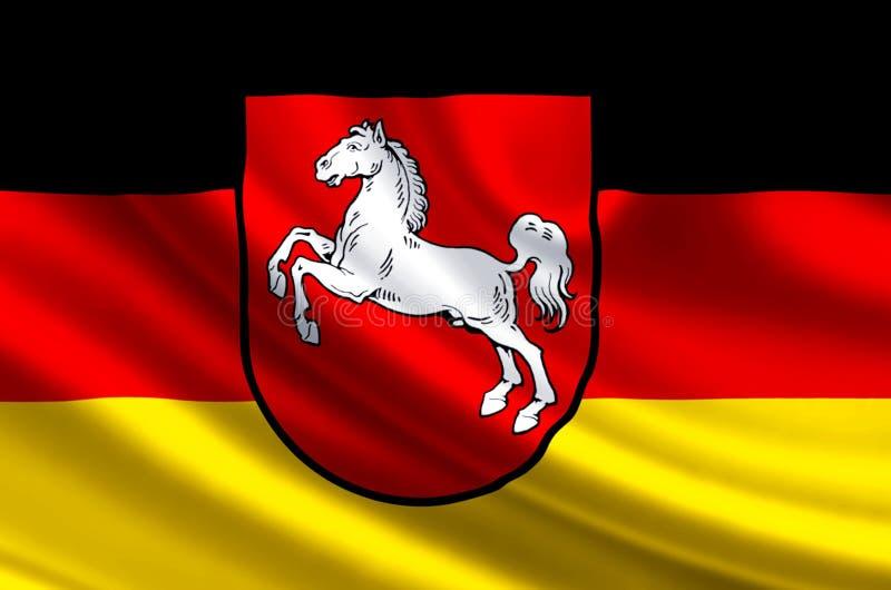 Flaggenillustration Niedersachsens Deutschland lizenzfreie abbildung