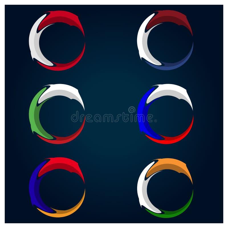 Flaggenkreis-Vorratvektor Armenien-, Niederlande-, Bulgarien-, Österreich-, Russland- und Indien-Flagge Vektorillustration auf bl lizenzfreie abbildung