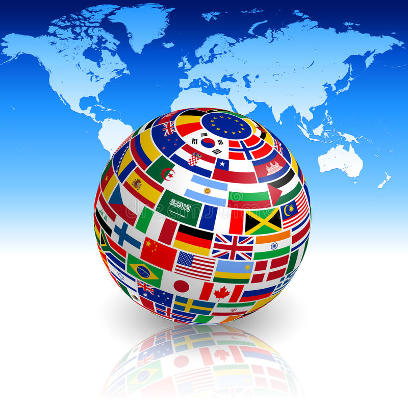 Flaggenkugel mit Weltkarte lizenzfreie abbildung