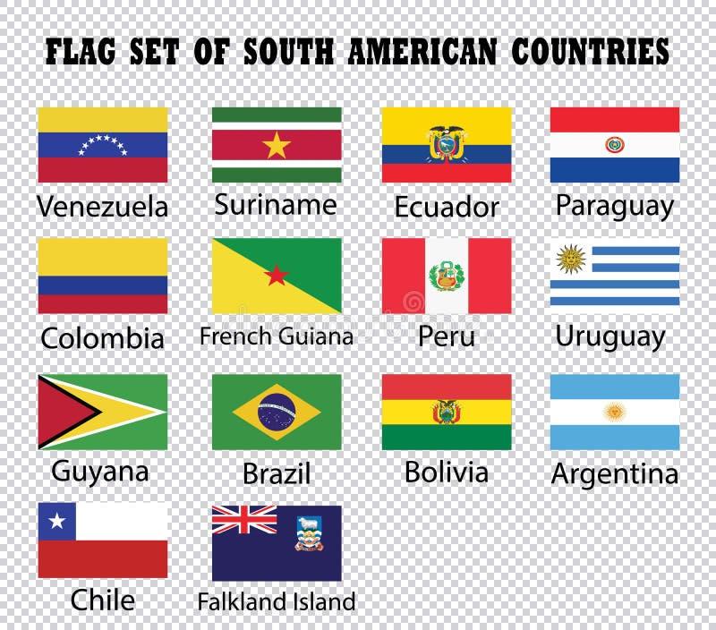 Flaggensatz südamerikanische Länder stock abbildung