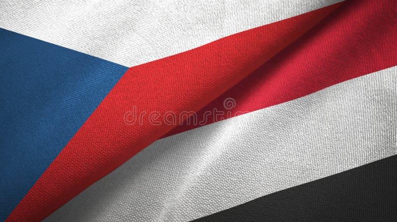 Flaggentextilstoff der Tschechischen Republik und des Jemens zwei, Gewebebeschaffenheit lizenzfreie abbildung