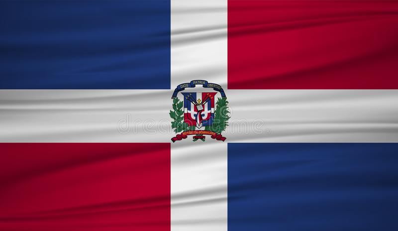 Flaggenvektor der Dominikanischen Republik Vector Flagge von Dominikanische Republik blowig im Wind stock abbildung