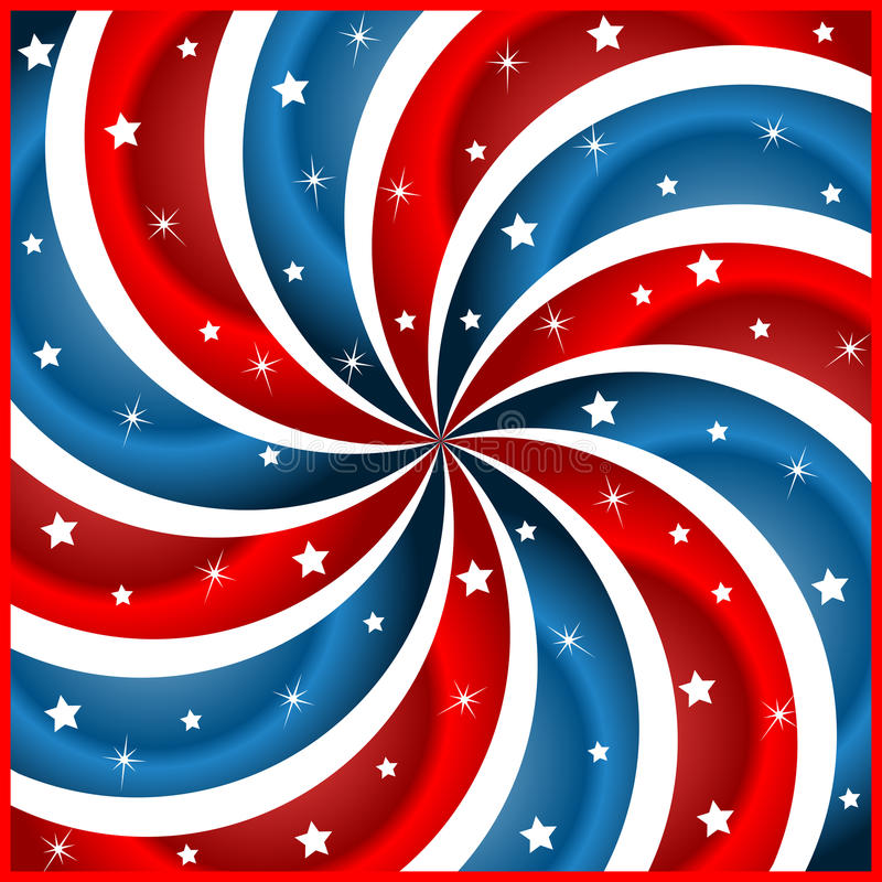 Flaggesterne und swirly -streifen vektor abbildung