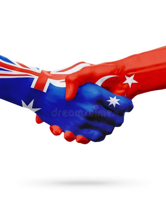 Flaggor Australien, Turkiet länder, partnerskapkamratskap, nationellt sportlag arkivfoto
