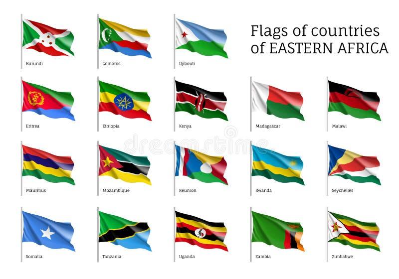 Flaggor av östliga afrikanska stater royaltyfri illustrationer