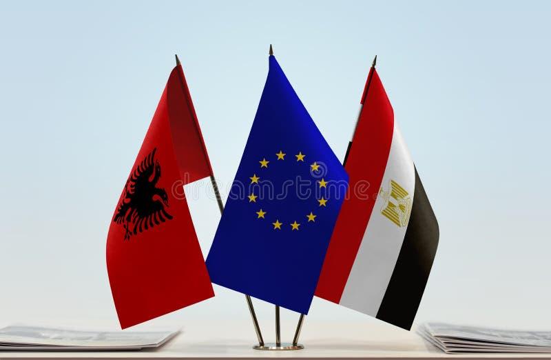 Flaggor av Albanien europeisk union och Egypten vektor illustrationer