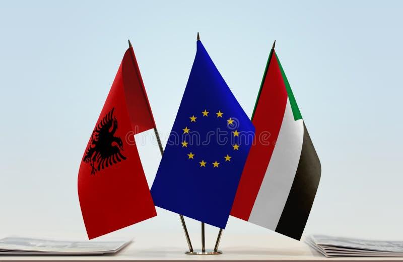 Flaggor av Albanien europeisk union och Sudan vektor illustrationer