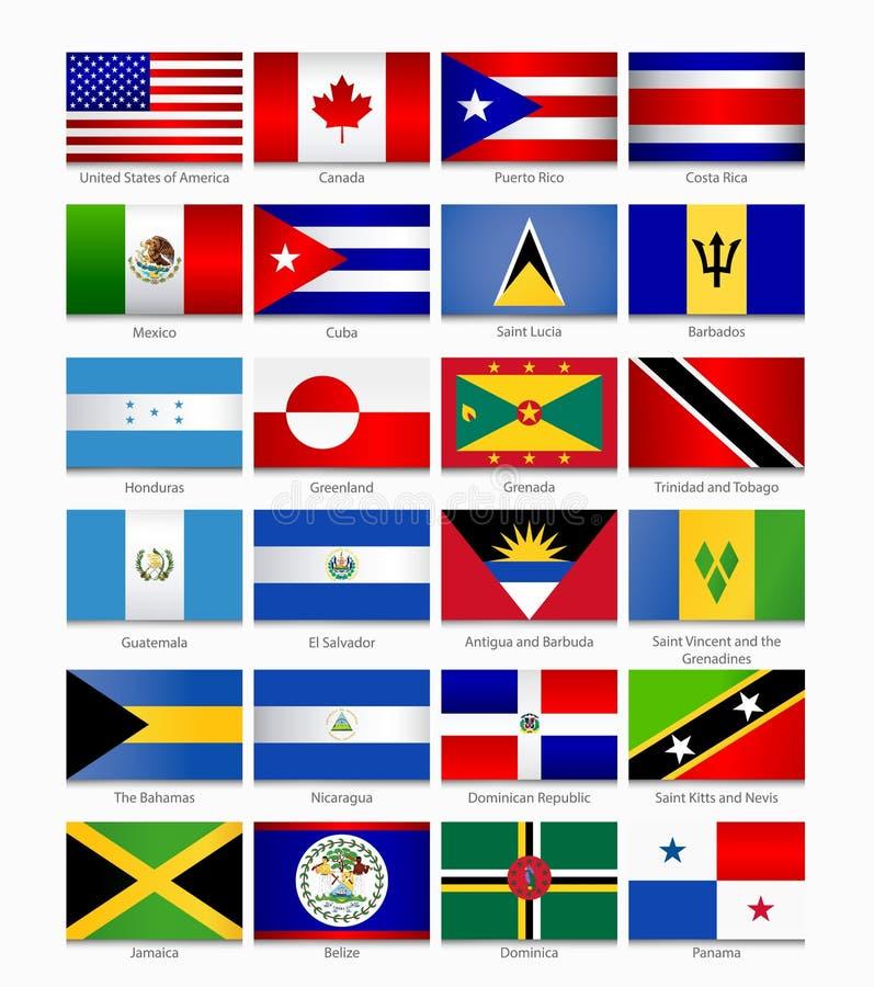 Flaggor av Americasna Del 1 royaltyfri illustrationer