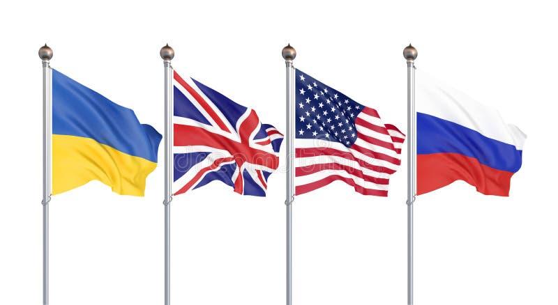 Flaggor av Amerikas förenta stater, Förenade kungariket, Ryssland och Ukraina Budapest anteckning på säkerhetsförsäkringar 3d stock illustrationer