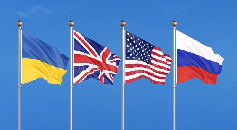 Flaggor av Amerikas förenta stater, Förenade kungariket, Ryssland och Ukraina Budapest anteckning på säkerhetsförsäkringar 3d royaltyfri illustrationer