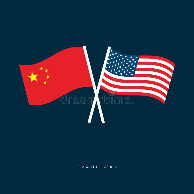 Flaggor av Amerikas f?renta stater och Kina Flaggorna av USA och Kina ?r korsade och sv?nga i vinden stock illustrationer