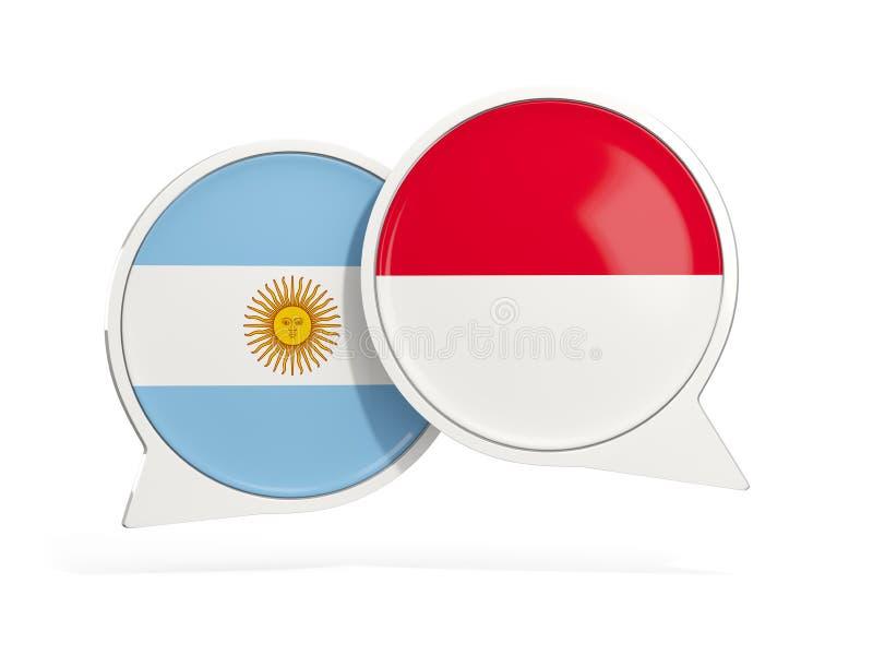 Flaggor av Argentina och indonesia inom pratstundbubblor vektor illustrationer