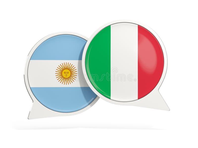 Flaggor av Argentina och Italien inom pratstundbubblor stock illustrationer