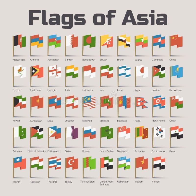 Flaggor av Asien i tecknad filmstil royaltyfri illustrationer