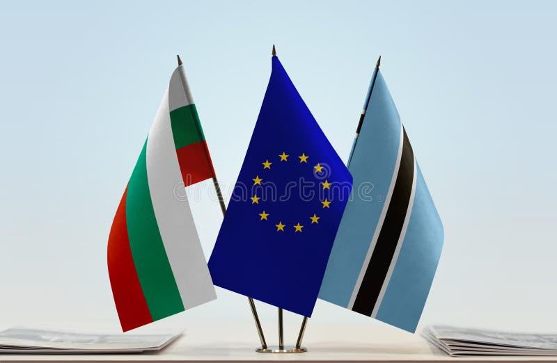 Flaggor av BulgarienEU och Botswana royaltyfri fotografi