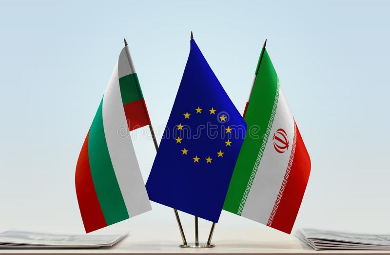 Flaggor av BulgarienEU och Iran royaltyfri bild