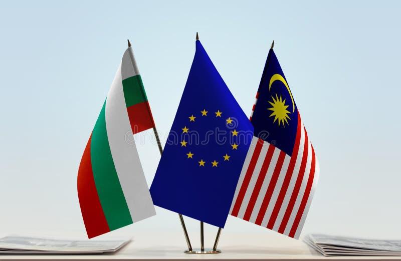 Flaggor av BulgarienEU och Malaysia fotografering för bildbyråer