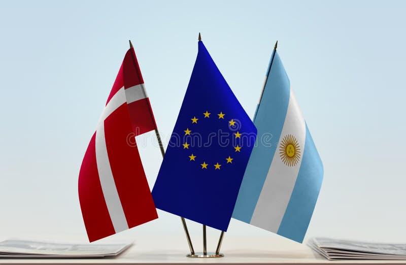 Flaggor av Danmark EU och Argentina fotografering för bildbyråer