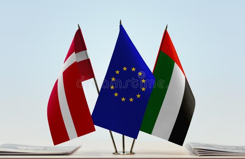 Flaggor av Danmark EU och UAE royaltyfri fotografi