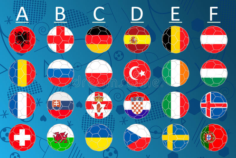 Flaggor av den eurofotbollmästerskapet 2016 stock illustrationer