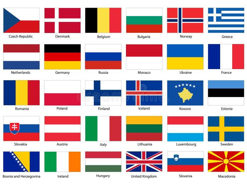 Flaggor av den Europa vektoruppsättningen royaltyfri fotografi