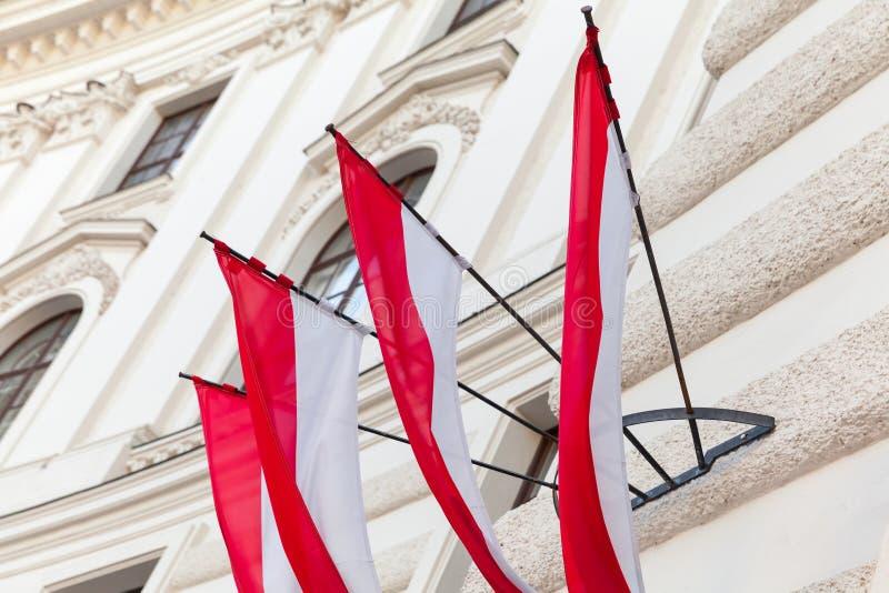 Flaggor av den Wien staden i Österrike royaltyfri fotografi
