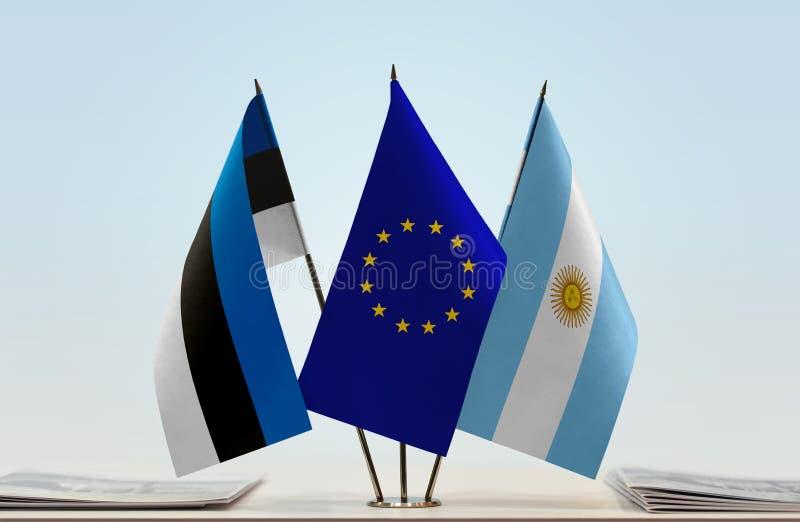 Flaggor av Estland EU och Argentina arkivbilder