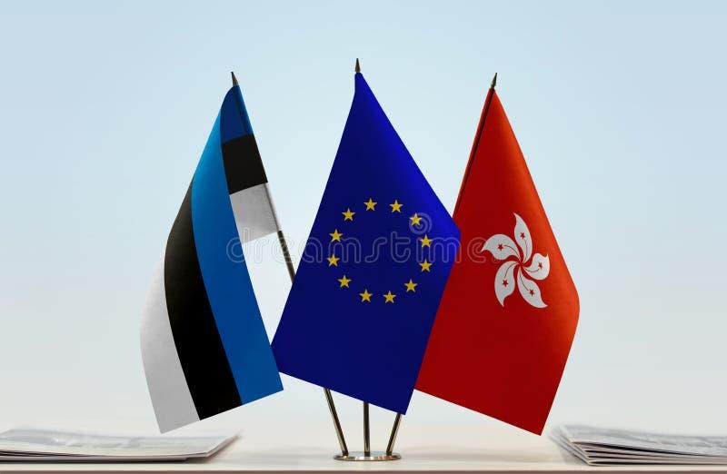 Flaggor av Estland EU och Hong Kong royaltyfria bilder