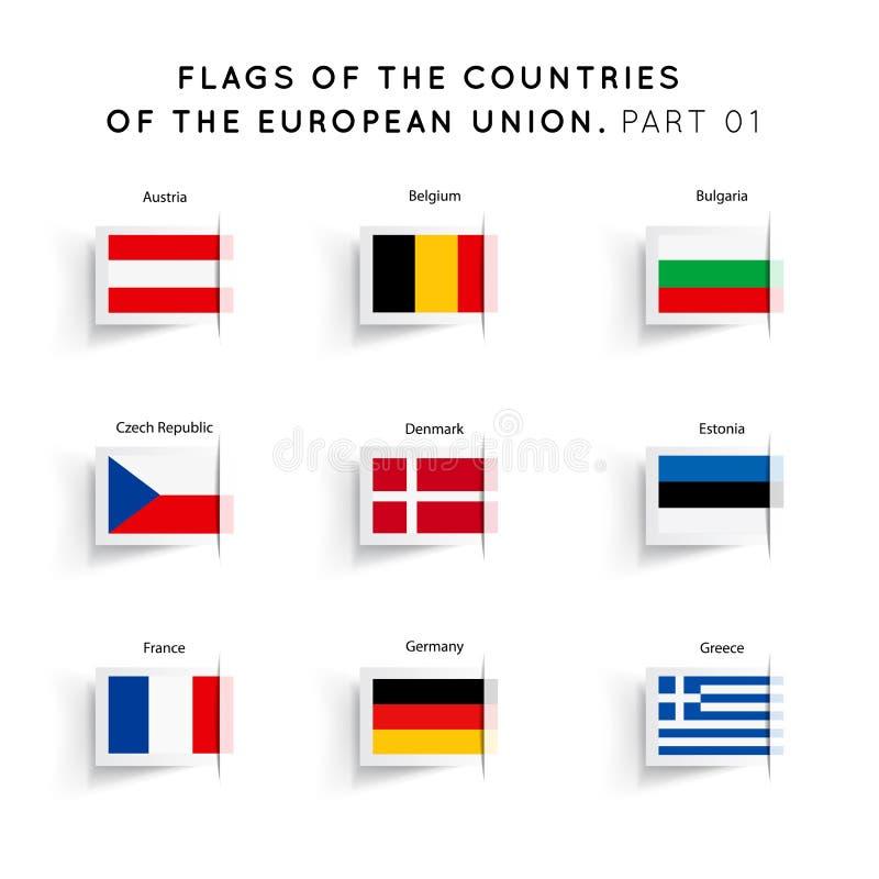 Flaggor av EU-länder stock illustrationer