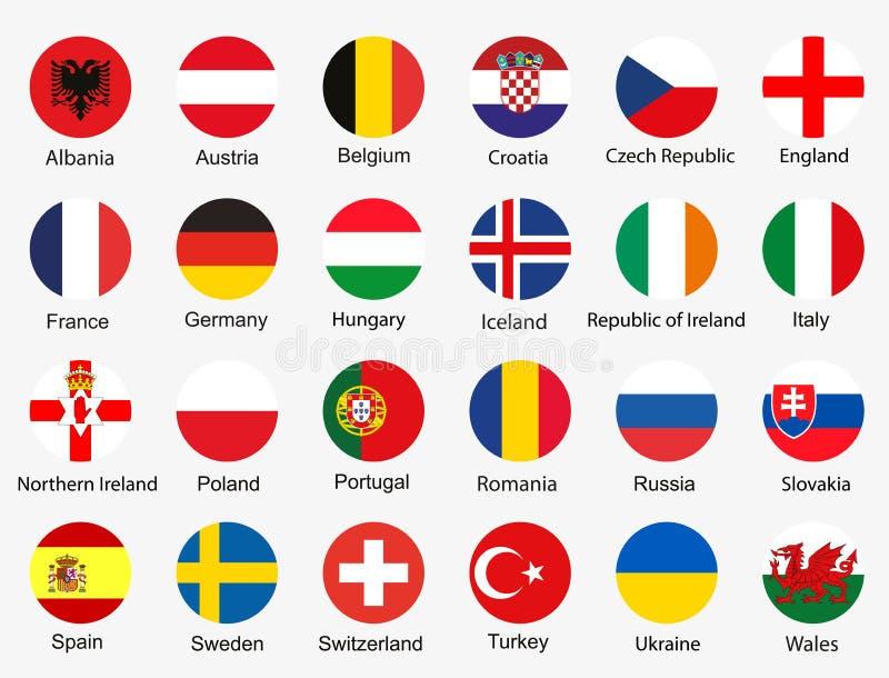 Flaggor av euroet 2016 royaltyfri bild