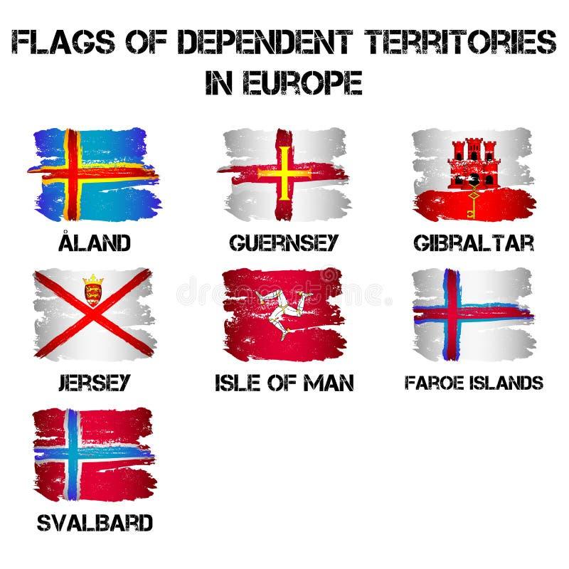 Flaggor av Europa beroende territorier från borsteslaglängder royaltyfri illustrationer