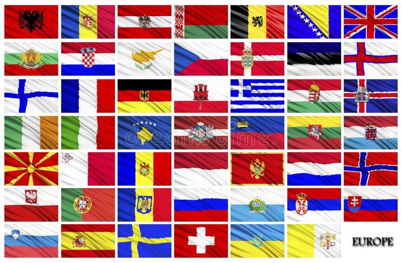 Flaggor av europeiska länder stock illustrationer