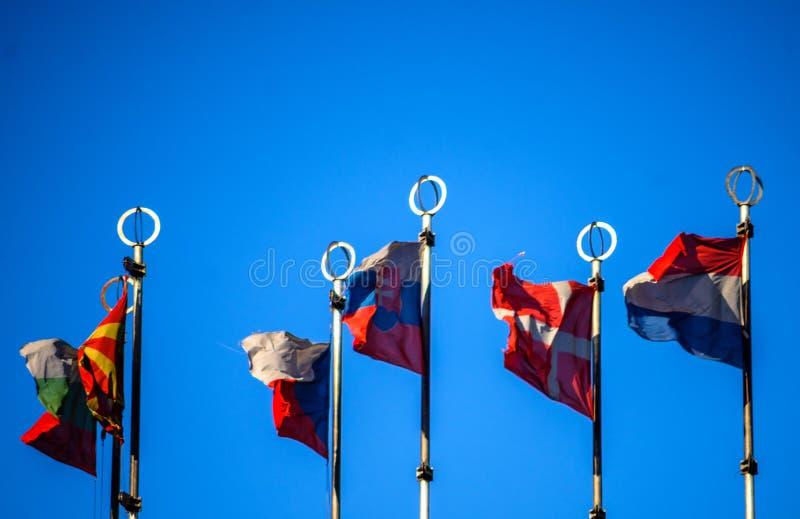 Flaggor av europeiska länder fotografering för bildbyråer