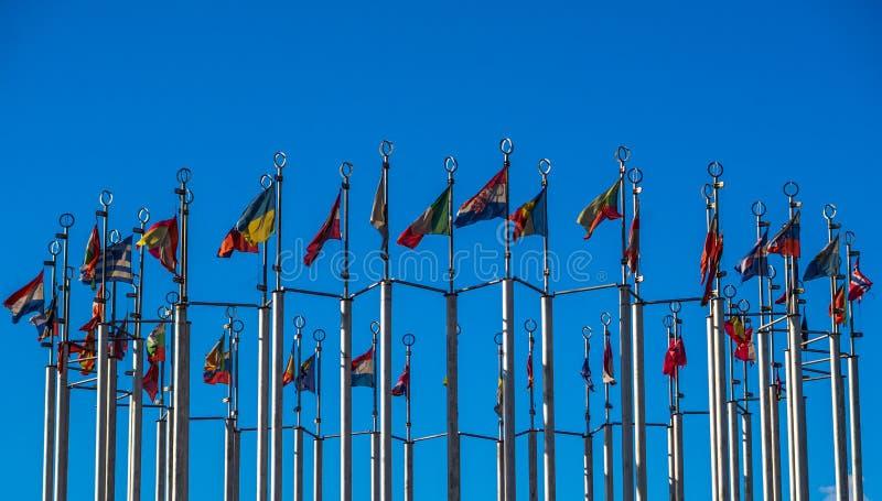 Flaggor av europeiska länder royaltyfria bilder
