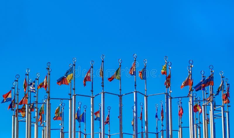 Flaggor av europeiska länder arkivfoton