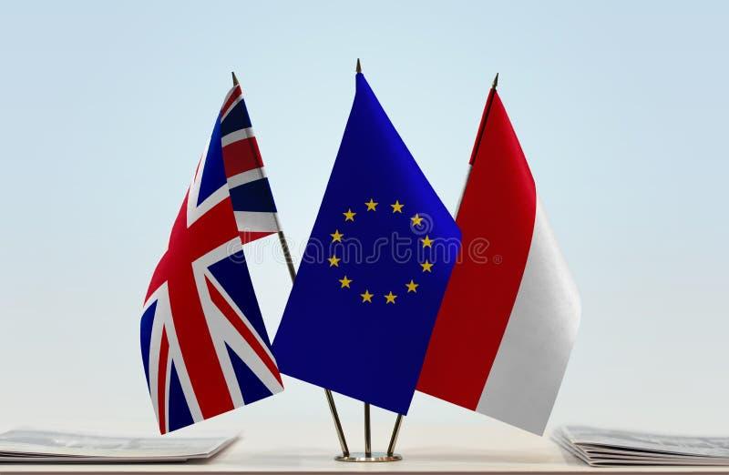 Flaggor av Förenade kungariket europeisk union och Monaco vektor illustrationer