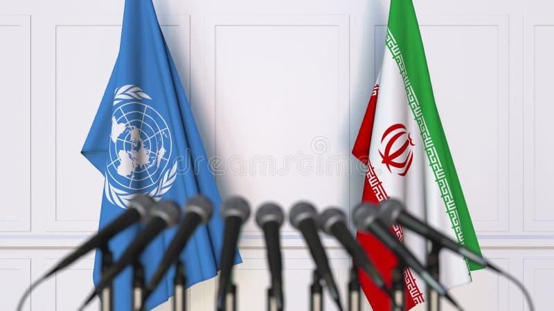 Flaggor av Förenta Nationerna och Iran på det internationella mötet eller konferensen Redaktörs- tolkning 3D royaltyfri illustrationer