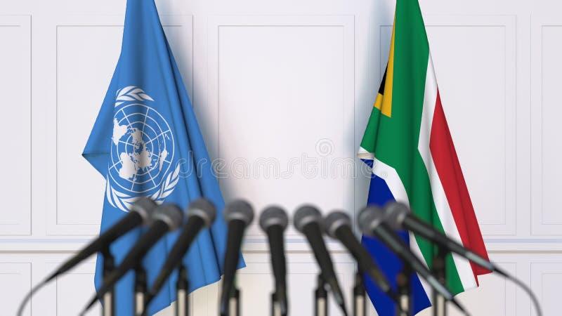 Flaggor av Förenta Nationerna och Sydafrika på det internationella mötet eller konferensen Redaktörs- tolkning 3D royaltyfri illustrationer