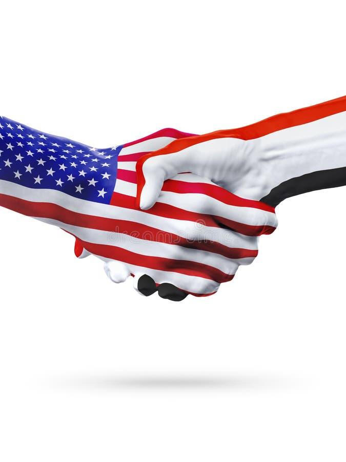 Flaggor av Förenta staterna- och Yemen länder, överexponerad handskakning arkivfoton