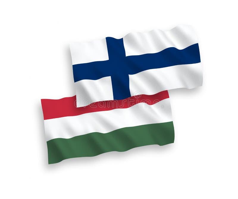 Flaggor av Finland och Ungern på en vit bakgrund vektor illustrationer