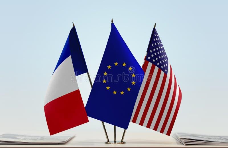 Flaggor av Frankrike EU och USA royaltyfri foto