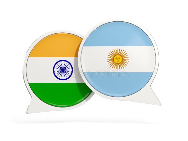 Flaggor av Indien och Argentina inom pratstundbubblor royaltyfri illustrationer