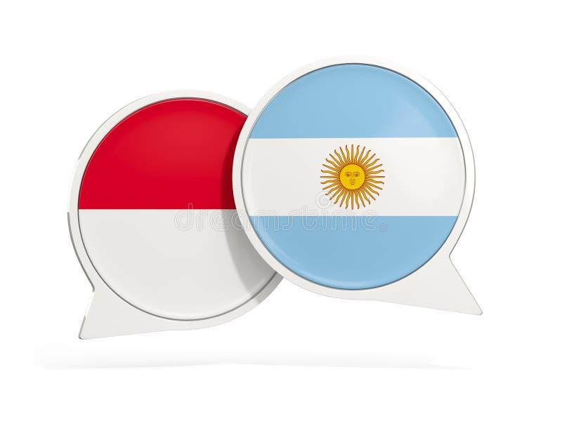 Flaggor av Indonesien och Argentina inom pratstundbubblor vektor illustrationer