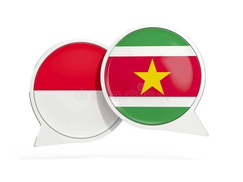 Flaggor av Indonesien och surinameinsidepratstundbubblor royaltyfri illustrationer