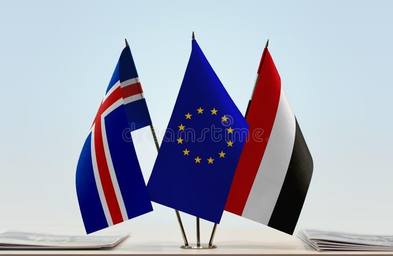 Flaggor av Island EU och Yemen arkivfoto
